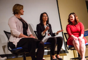 Founders Julie Collens, Debbie Chen and Kate Dilligan took the stage on Dec. 6 as new graduates of Ad Astra, a 12-week research-based accelerator focused on women.